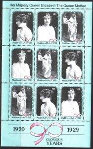 Maldives. 1990. ml 1424-26. Queen mother, English royal family. MNH.