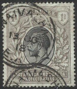 EAST AFRICA & UGANDA PROT. 1912 Sc 49, Used 1r, 1918 NAIVASHA postmark cancel
