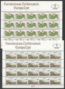 EC069 1977 LIECHTENSTEIN EUROPA CEPT ART LANDSCAPES !!! MICHEL 30 EURO 2SH MNH