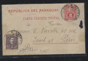 PARAGUAY (P2309B) 1894 2C PSC UPRATED 5C TO PARIS