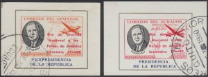 ECUADOR 1949 ROOSEVELT OFFICIAL Bts O.XV & O.XX MINISHEETS OVPTD USED F,VF RARE!