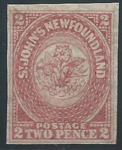 Newfoundland, 1861-62, Scott #17, 2p rose, mint, L.H., V.F., Signed