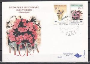 Bosnia, Muslim, Scott cat. 279 A-B. Flowers issue. First day cover. ^