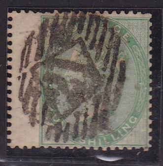 Great Britain 1865 1sh green left wing margin  F/VF/used