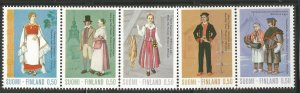 FINLAND  522A  MNH,  STRIP OF 5,  REGIONAL COSTUMES