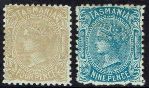 TASMANIA 1896 QV SET 4D AND 9D WMK TAS NO LINES PERF 12