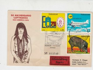 Paraguay 1976 Expres Flight Airmail 50th Ann Lufthansa Stamps Cover Ref 29405