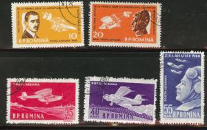 ROMANIA Scott C79-83 used CTO Airmail stamps 1960