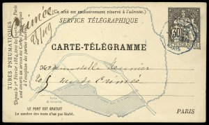 fr038 France Carte-Telegramme 30c black card with map, used