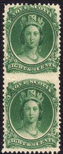 1860-3 Canada Nova Scotia Queen Victoria QV 8½¢ Vert Pair MNH Sc# 11 CV $40 #1