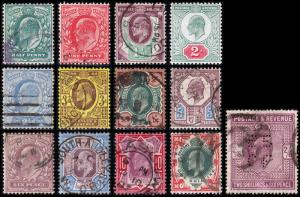 Great Britain Scott 127-129, 130a, 131-139 (1902-11) U/M H F-VF, CV $526.00 B