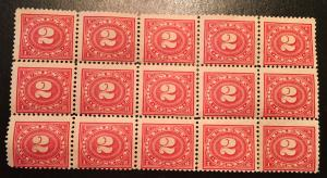 R229 2 Cent, Documentary 15 stamp block, Mint, No gum, NH, Vic's Stamp Stash