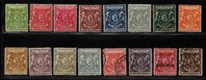 $British East Africa Sc#72-87 used+M/H/F-VF, complete set, 80 thin, Cv. $528.75