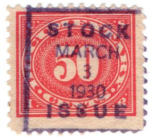(I.B) US Revenue : Documentary 50c (Stock Issue OP)
