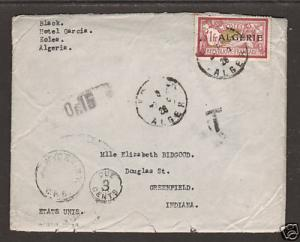 Algeria Sc 28 on 1926 Postage Due cover with contents, addressed to