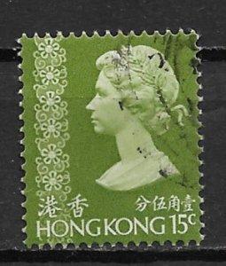 1973 Hong Kong 276  15¢ Queen Elizabeth used.