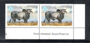 ZAMBIA 421 MNH VF Pair Brahman Bull Highest value in set of 4