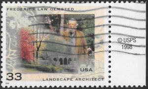 US 3338 Used - Frederick Law Olmsted (1822-1903), Landscape Architect