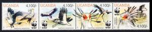 Uganda WWF Secretarybird strip of 4v