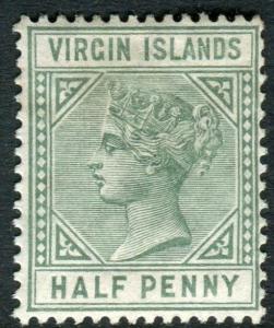 BRITISH VIRGIN ISLANDS-1883-84 ½d Dull Green TOP TRIANGLE DETACHED LMM Sg 27b