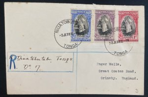 1939 Niuatobutabu Tonga Toga Registered Cover to England Queen Salote Tabou