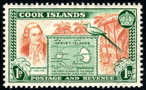 Cook Islands 132, MNH. Cook and map of Hervey Isls, 1949
