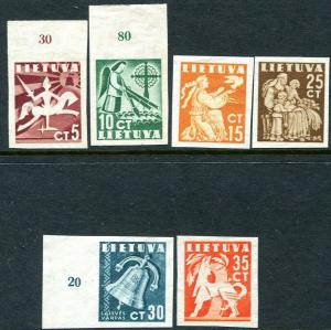 LITHUANIA-1940 Liberty Issue Set of 6 Imperf & Ungummed as used Sg 439-44v