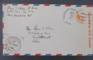 1942 San Francisco Cincinnati USA WWII Censorship American Base Military Cover