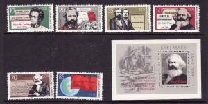 East Germany [DDR]-Sc#2332-8 -unused NH set & sheet-Karl Marx-1983-
