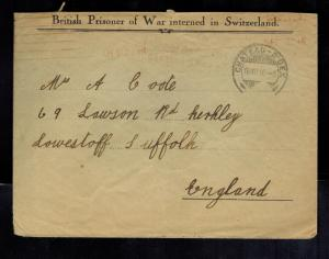 1916 Chateau Doex Switzerland cover to England from British Prisoner of War POW