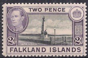 Falkland Islands 1938 - 50 KGV1 2d Battle Memorial MM SG 149 ( G401 )