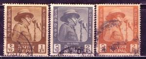 Nepal; 1964: Sc. # 173-175: O/Used Cpl. Set
