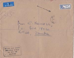 blantyre malawi 1969 huge registered stamps cover ref 12992