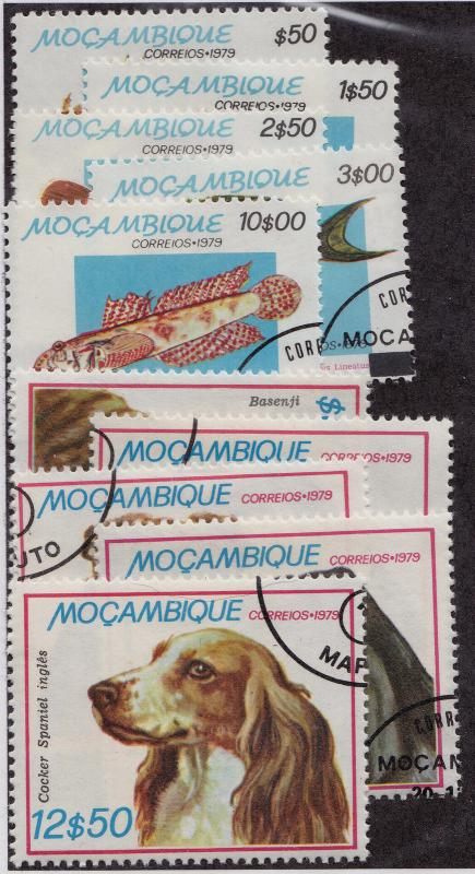 MOZAMBIQUE Used Scott # 642-646, 662-666 Fish & Dogs - remnants, short (10 Stps)