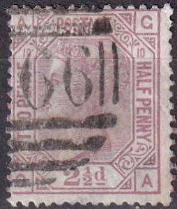 Great Britain #67 Plate 10 F-VF Used CV $75.00 (A18709)
