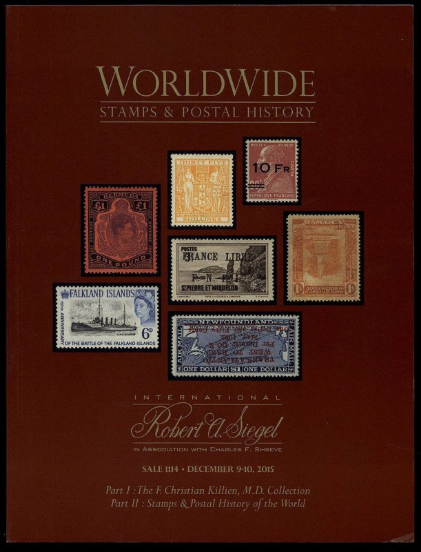 Siegel catalog: Sale 1114 Worldwide Stamps and Postal History Dec. 9-10, 2015