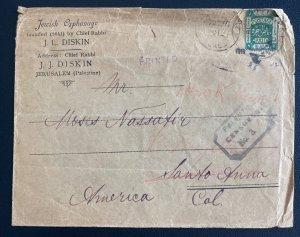 1918 Jerusalem Palestine Orphanage Cover To Santa Ana CA Usa