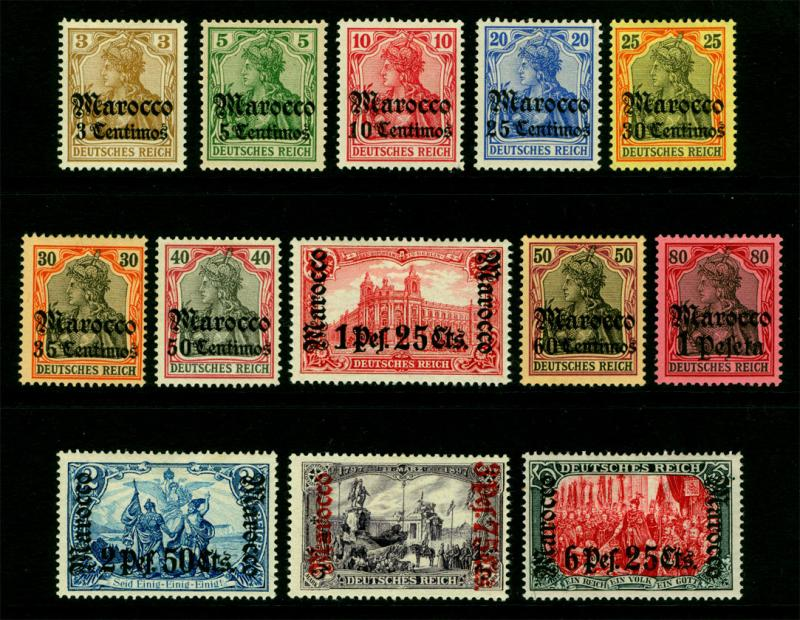 German Colonies -Offices in MOROCCO 1905 SURCHARGED set (no wmk)Sc#20-32 mint MH
