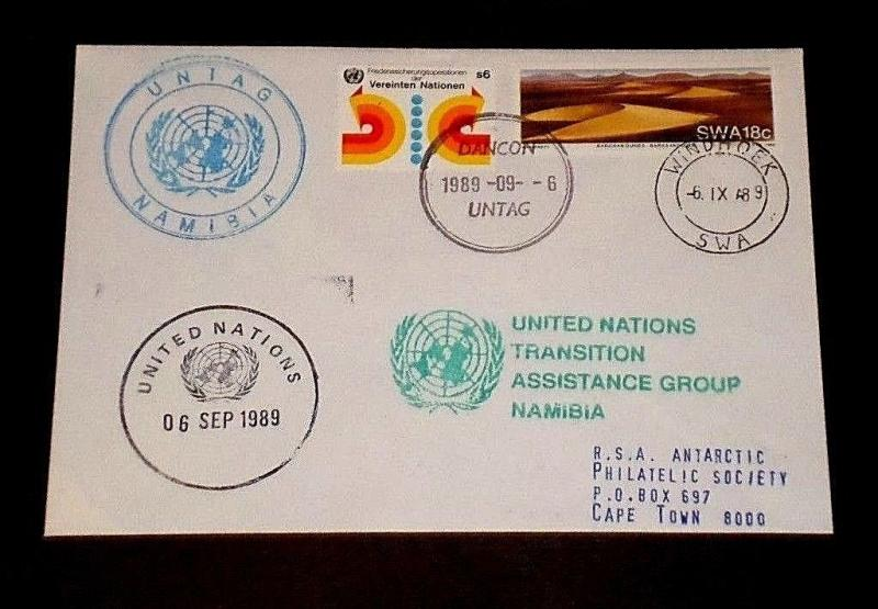 U.N. 1989, U.N. & S.W.A. JOINT ISSUE SINGLES ON FDC, SCARCE!, NICE! LQQK!