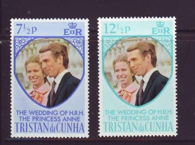 Tristan da Cunha Sc 189-90 1973 Royal Wedding Princess stamp