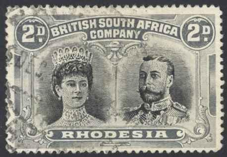 Rhodesia Sc# 103b Used perf 15 1910 2p Queen Mary & King George V