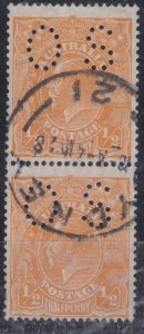 "G478) Australia 1927 ½d orange small multi wmk perf 14 vertical pair, perf ""OS"""