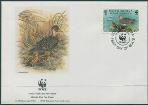 South Georgia 1992 SG217 20p Teal with two chicks FDC