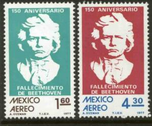 MEXICO C541-C542, Sesquicentennial of death of Beethoven MINT, NH. F-VF.