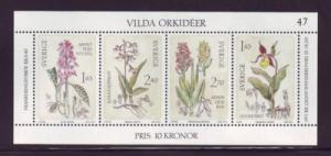 Sweden Sc 1419 1982 Wild Orchids stamp sheet mint NH