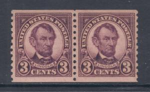 US Sc 600 MNH. 1924 3c violet Lincoln horizontal Coil Pair, F-VF