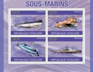 Withdrew 02-13-19-Togo - Submarines - 4 Stamp  Sheet 20H-148