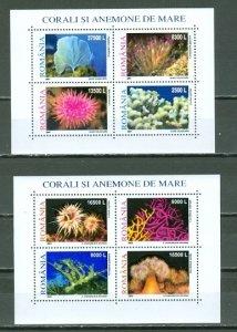 ROMANIA 2001 CORALS #4483-84 SET  SHEETS MNH...$10.50
