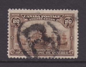 Canada Sc 103 used 1908 20c Arrival of Cartier F-VF