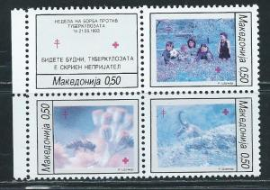 Macedonia RA43a NOTE 1993 Red Cross block BLUE stamps MNH